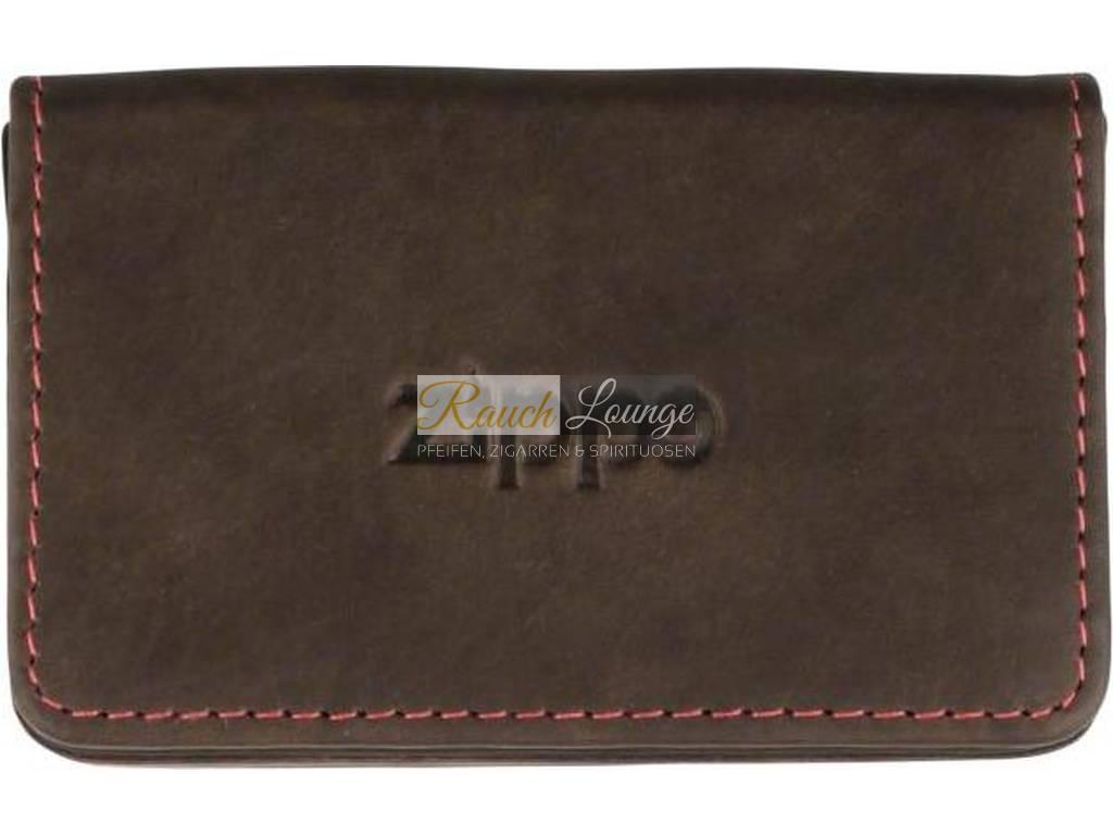 Zippo Visitenkarten Tasche Etui Leder Mocca Mit Rote Steppnaht 10 X 6cm